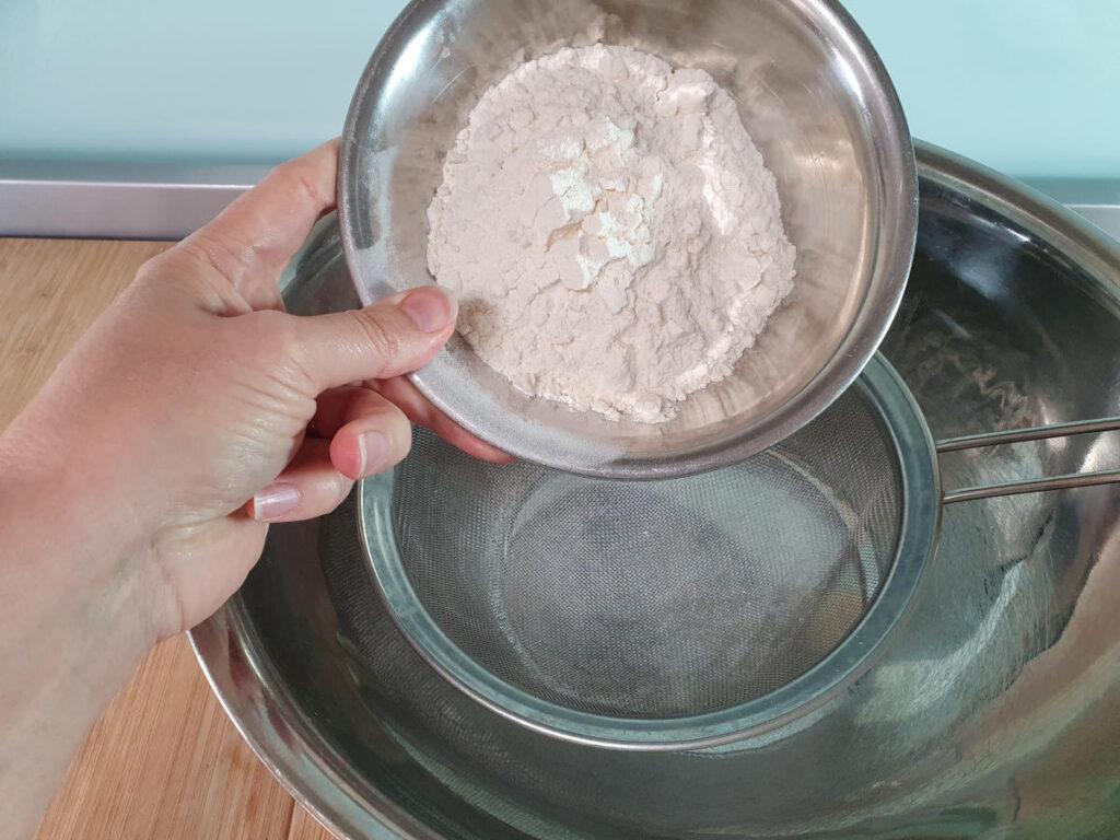 sifting in plain flour.