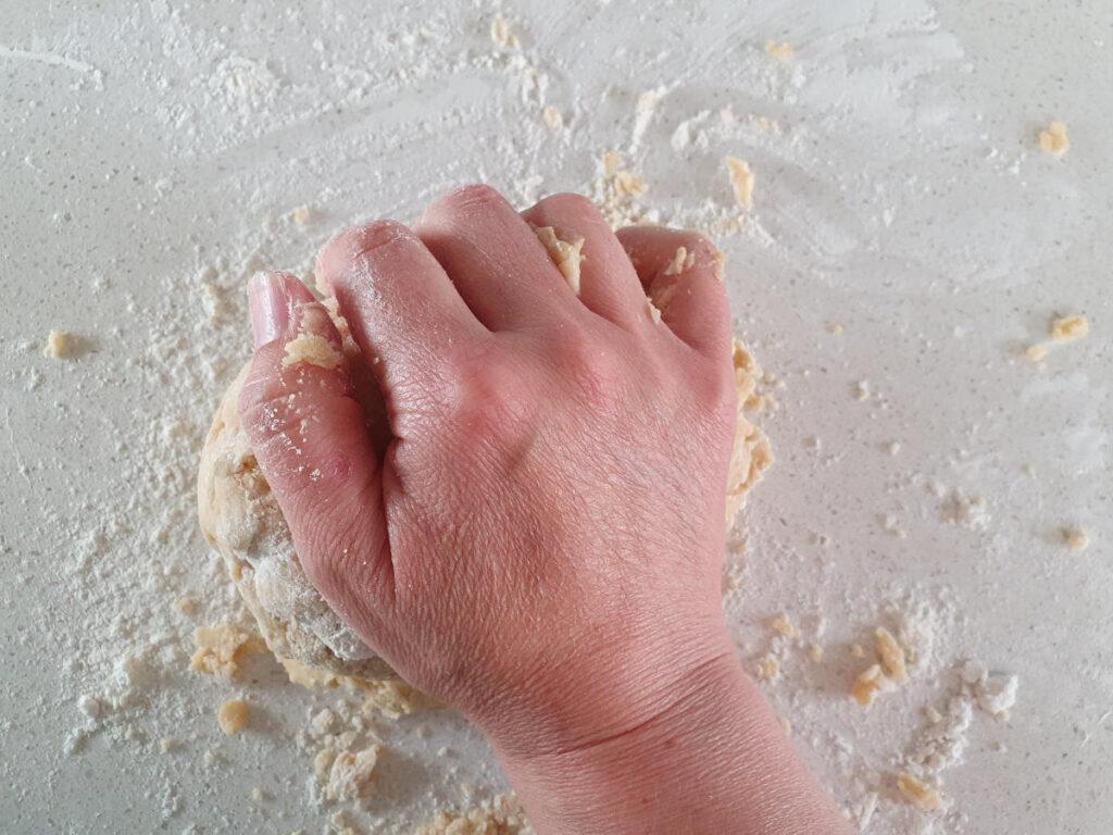 starting to kneed dough.