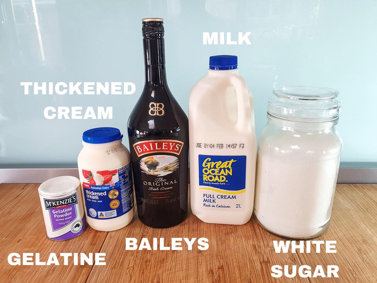 Baileys ice cream ingredients, gelatin, thickened cream, Baileys, milk, white sugar.