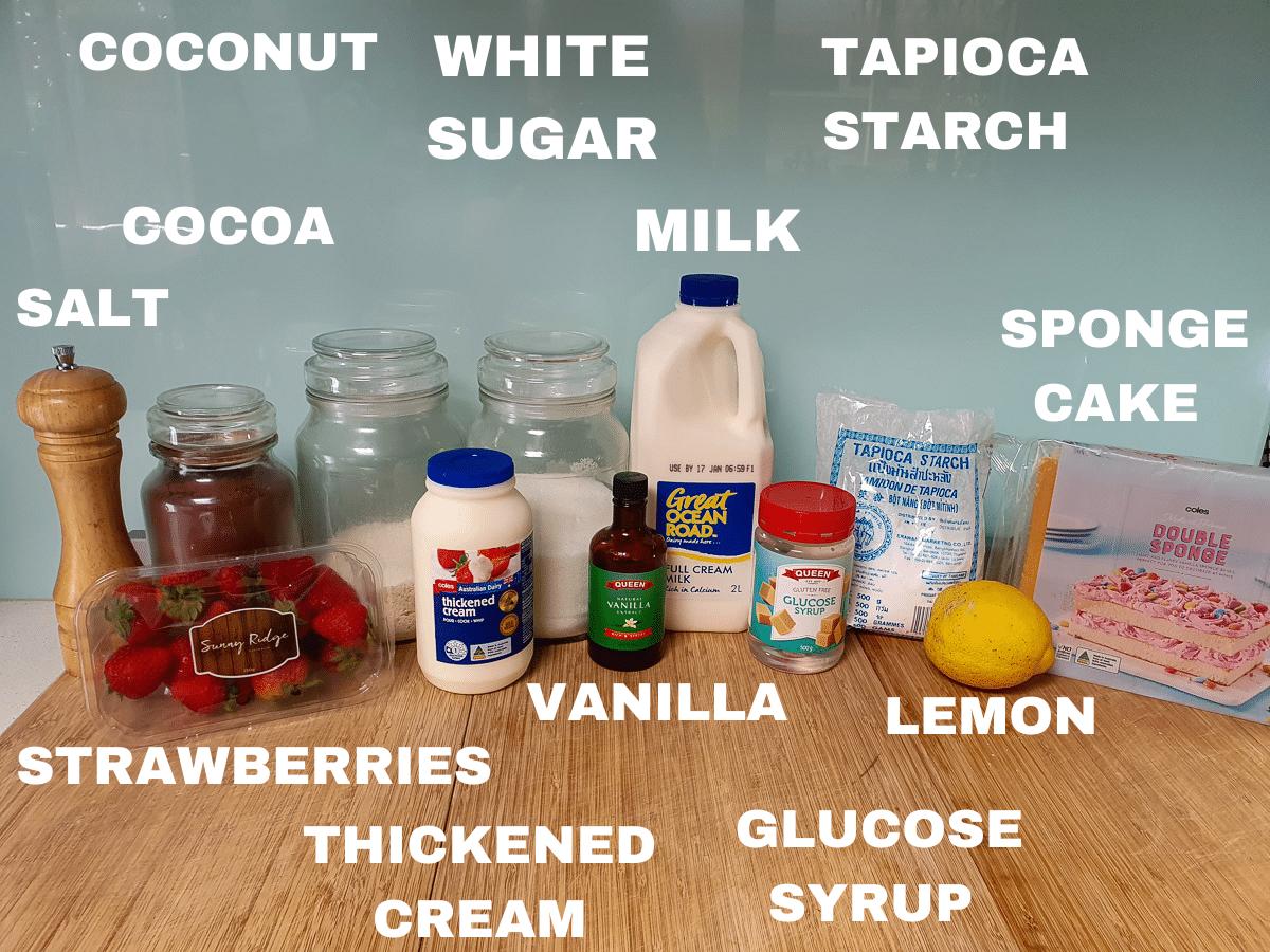 Lamington ice cream ingredients, salt, strawberries, cocoa, coconut, white sugar, milk, tapioca starch, sponge cake, fresh lemon, glucose syrup, vanilla essence, thickened cream.