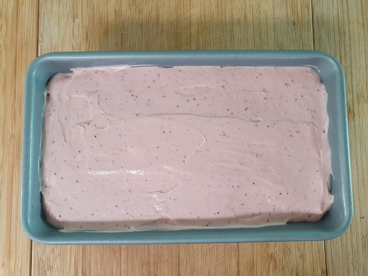 Ice cream in loaf pan ready to freeze.