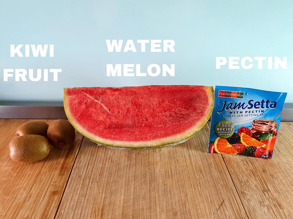 Watermelon ice lollies ingredients, kiwi fruit, watermelon and jamset or pectin.