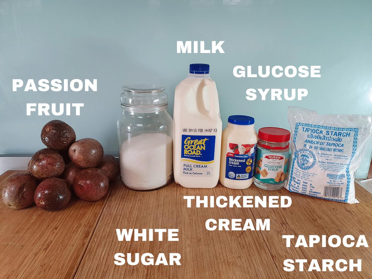 Passion fruit ice cream ingredients, fresh passion fruit, white sugar, milk, thickened cream, glucose syrup, tapioca starch.