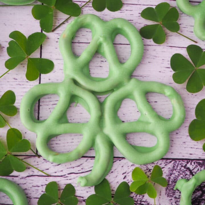 Close up of shamrock pretzels surrounded by fresh shamrocks or 3 leaf clovers.