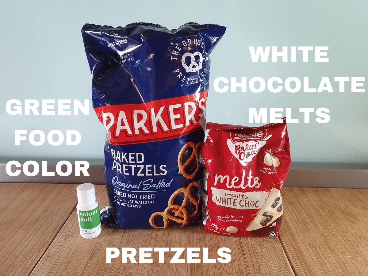 Shamrock pretzels ingredients, oil based green food color, pretzels and white chocolate melts.