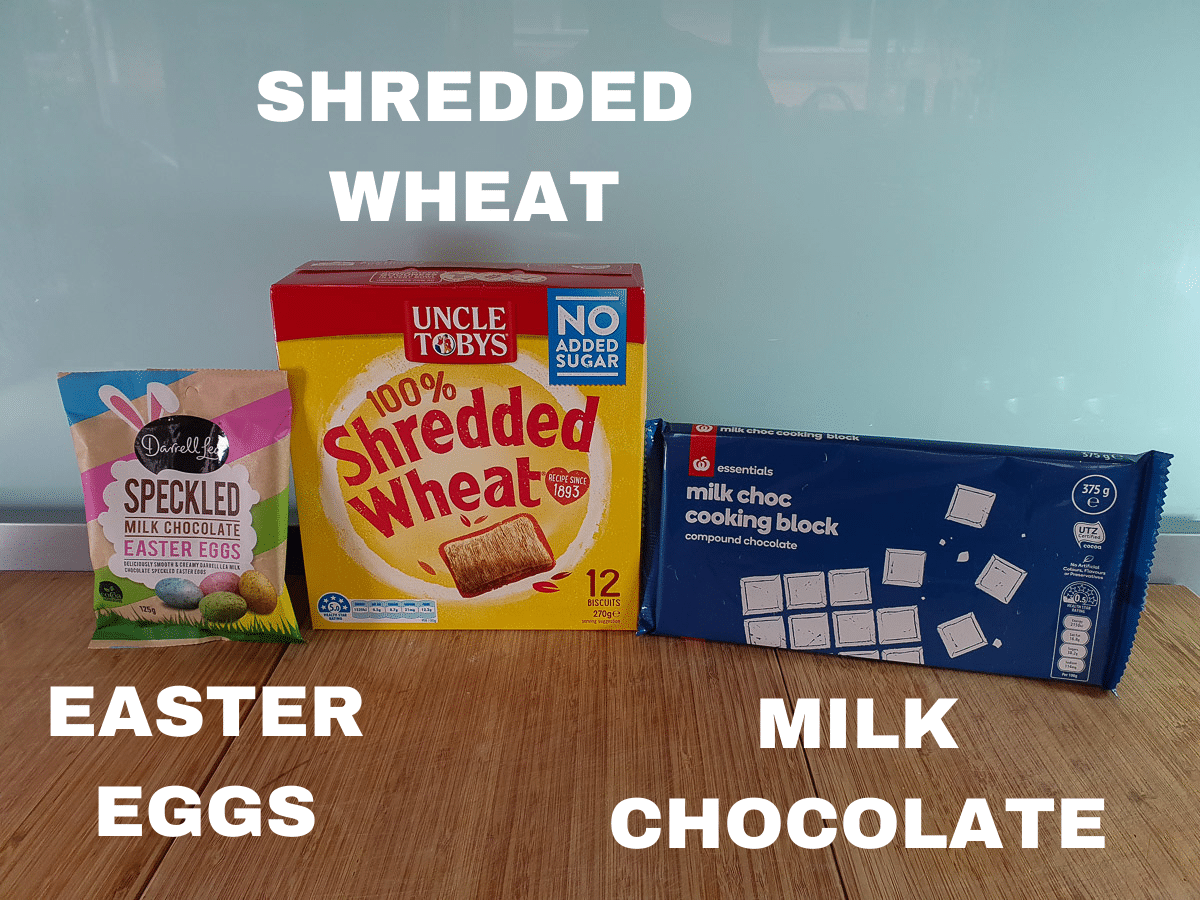 Shredded wheat ingredients, Easter eggs, shredded wheat, milk chocolate.