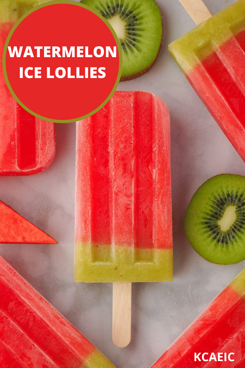 Watermelon ice lollies with fresh watermelon and kiwi fruit and text overlay, watermelon ice lollies, KCAEIC.