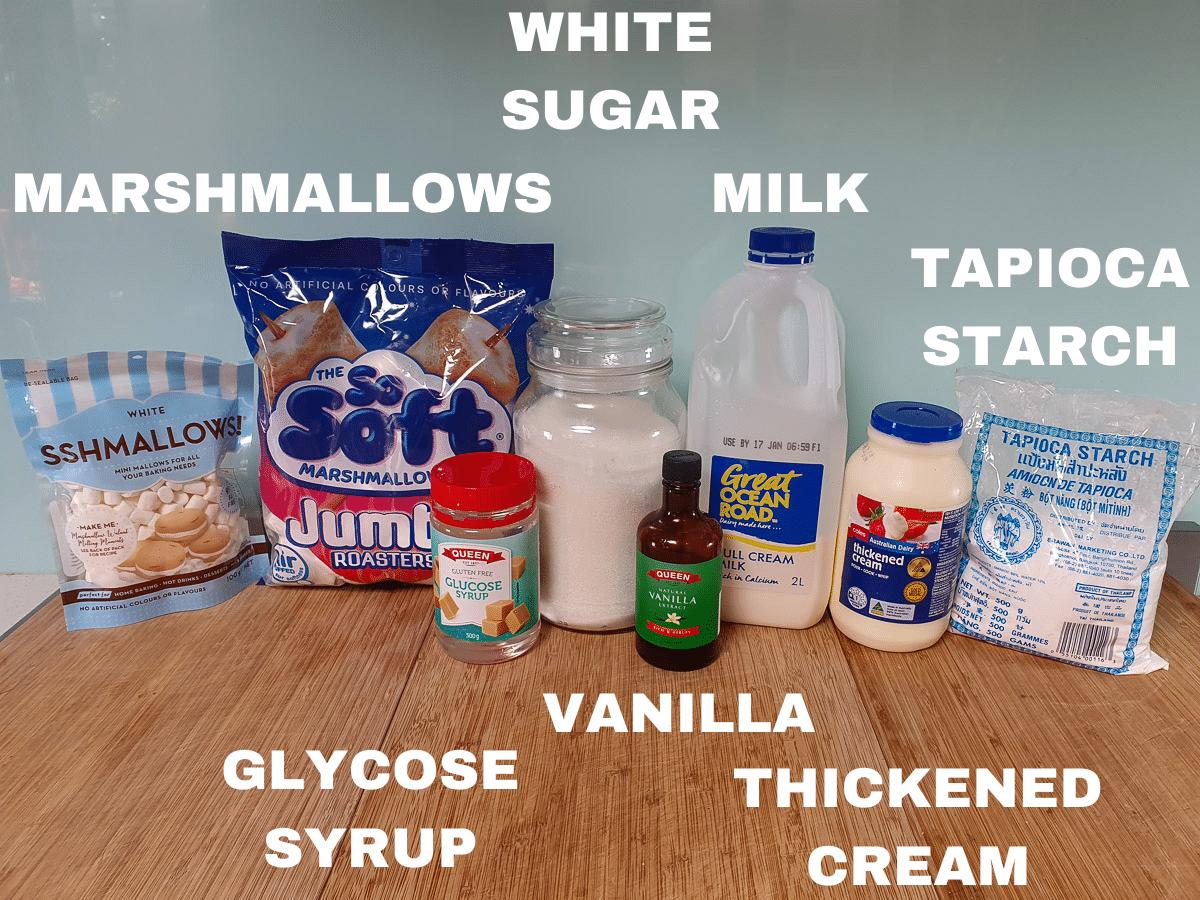 Marshmallow ice cream ingredients, marshmallows, white sugar, glycose syrup, milk, vanilla essence, cream, tapioca starch.