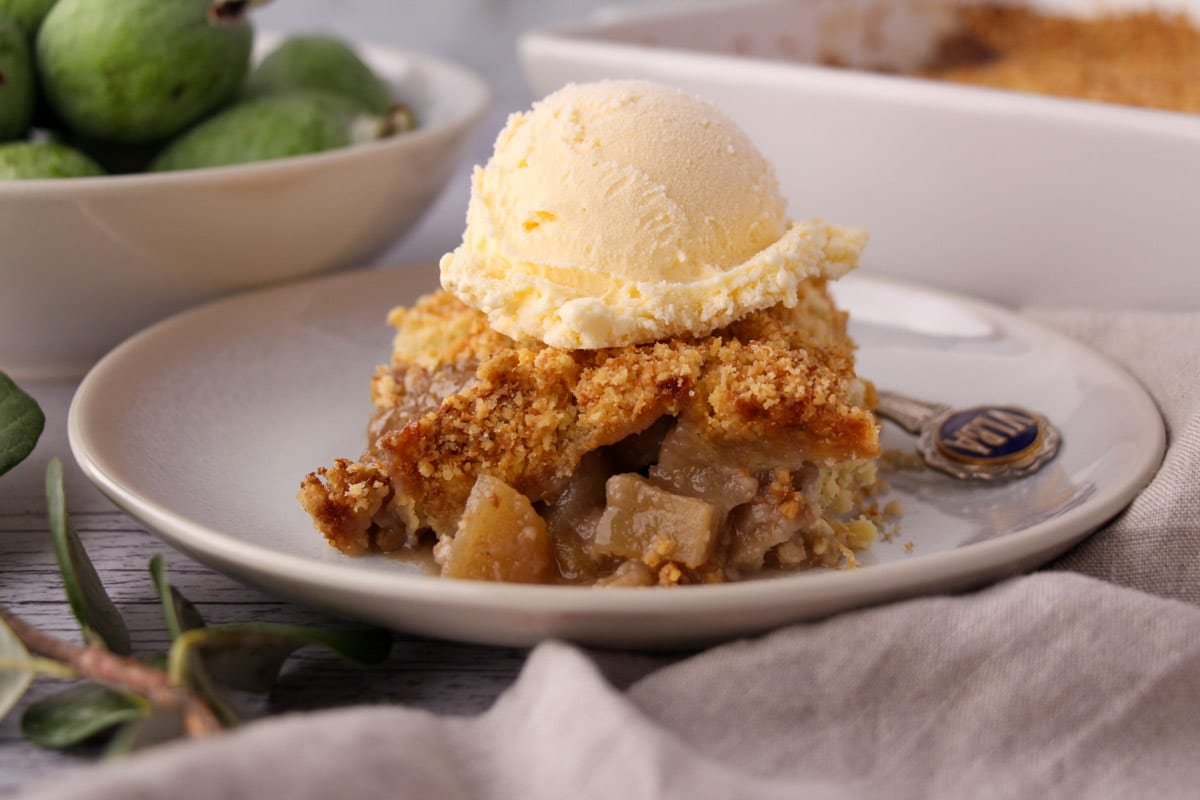 Feijoa crumble on a plate with a scoop of ice cream on top, vintage spoon on the side and fresh feijoas and baking dish of crumble in the background.