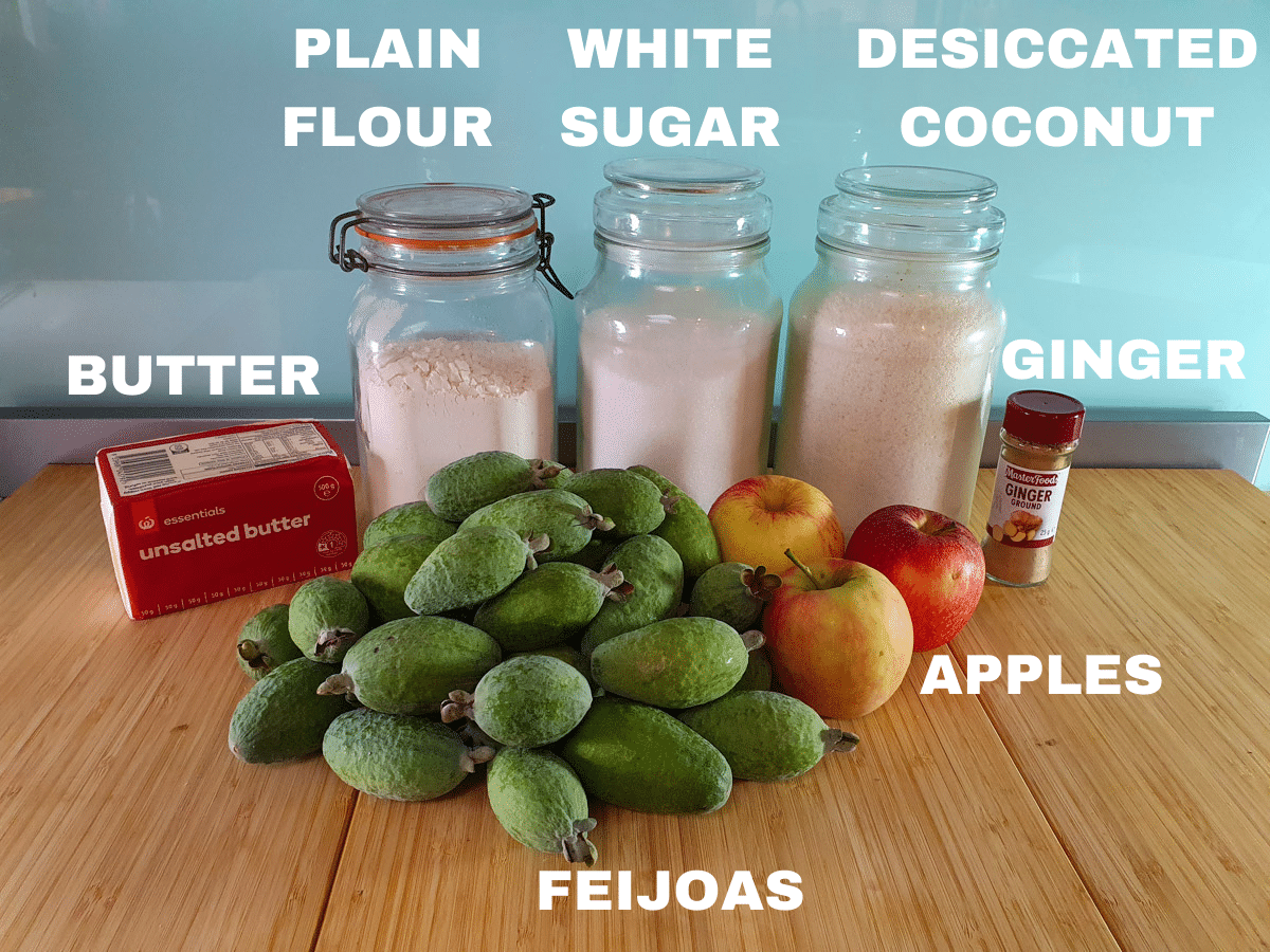 Feijoa crumble ingredients, feijoas, butter, plain flour, white sugar, desiccated coconut, ground ginger, apples.