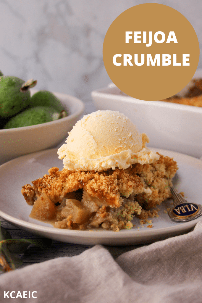 Feijoa crumble on a plate with ice cream and a spoon, with text overlay, feijoa crumble, KCAEIC.