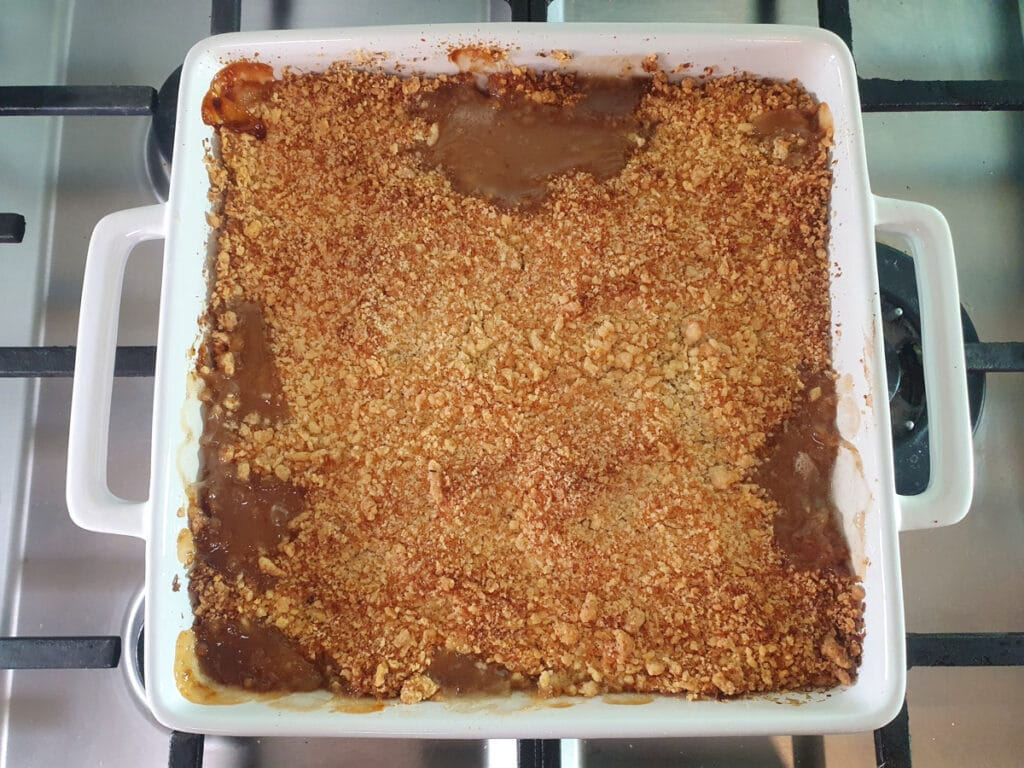 Baked crumble fresh out of the oven.