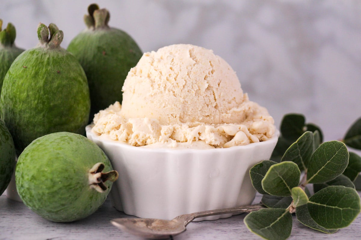 Scoop of feijoa ice cream with fresh feijoa, vintage spoon and sprig of feijoa leaves.