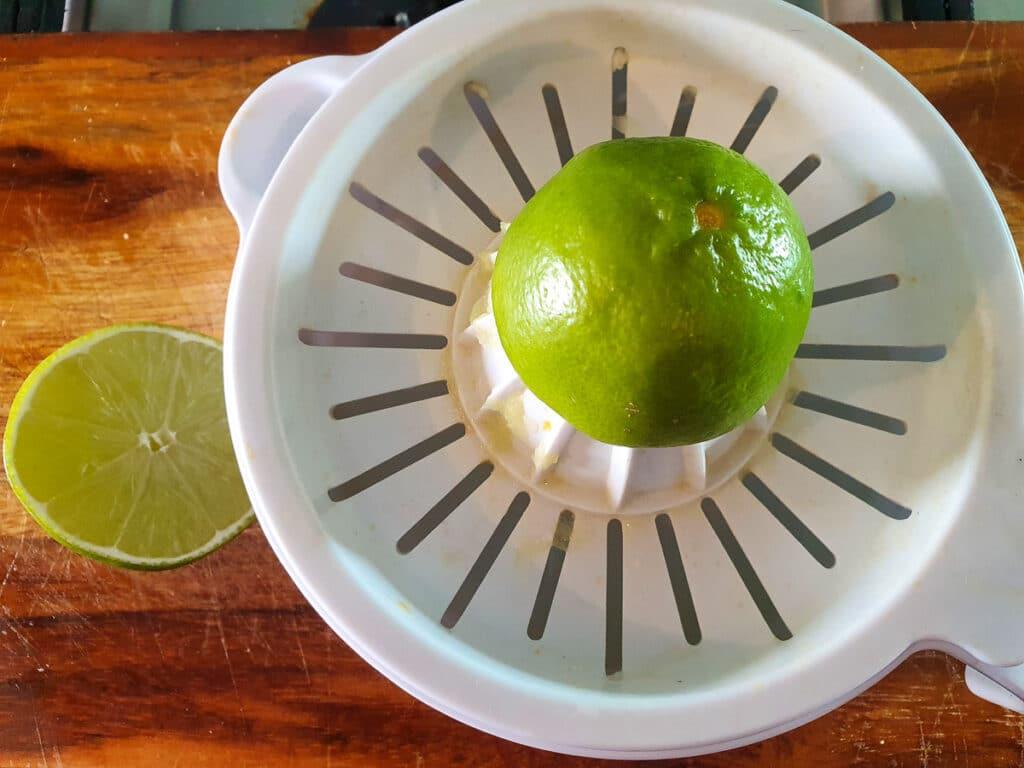 Juicing fresh lime.