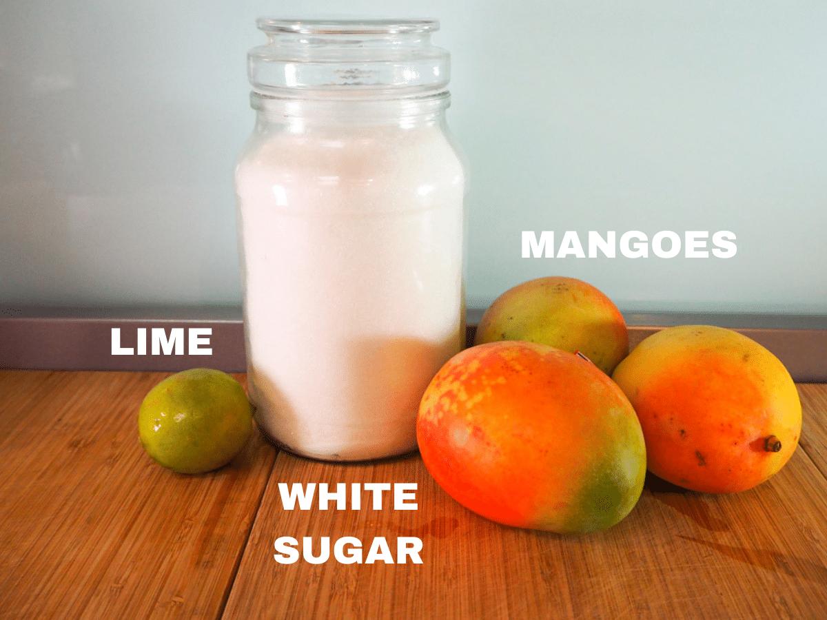 Mango coulis ingredients, fresh lime, white sugar, fresh mangoes.