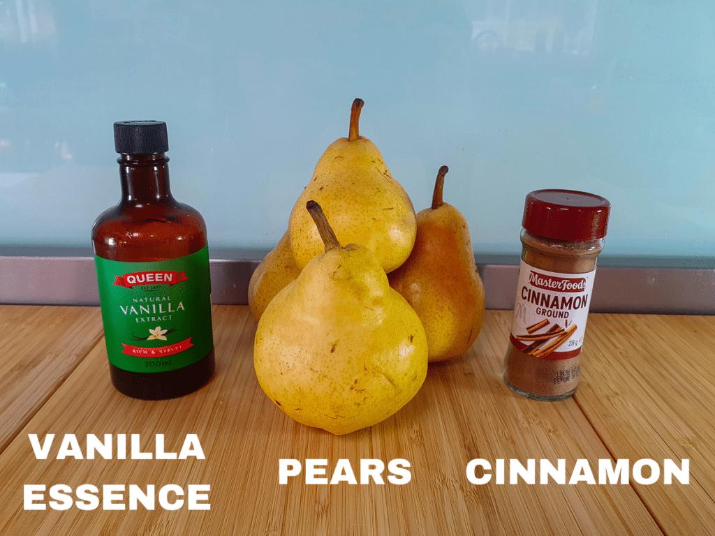 Stewed pears ingredients, vanilla essence, pears, ground cinnamon, water (not pictured).