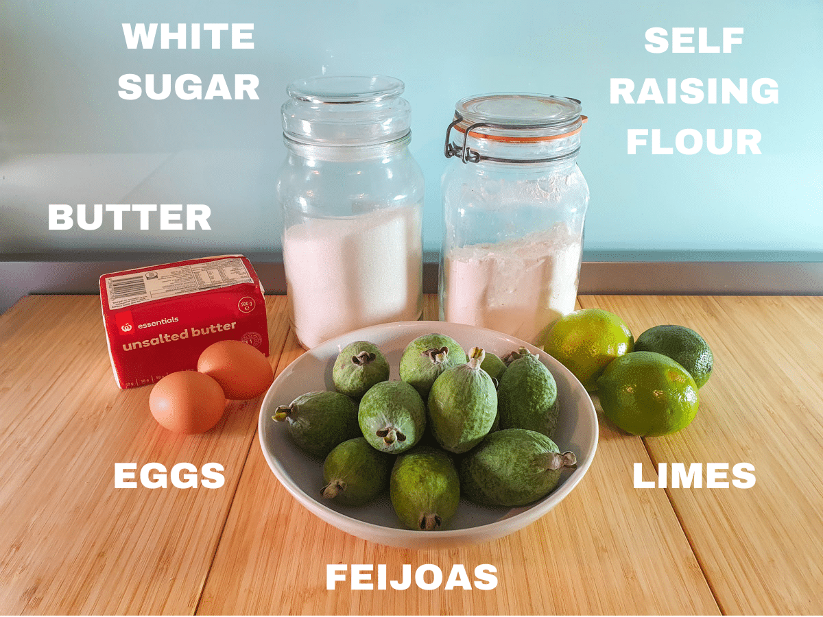 Feijoa cake ingredients, butter, eggs, feijoas, white sugar, self raising flour, limes.