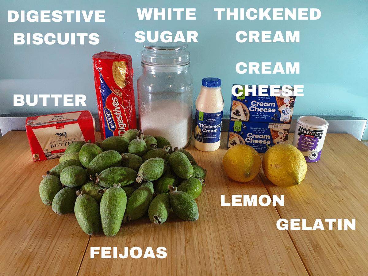 Feijoa cheesecake ingredients, feijoas, butter, digestive biscuits, white sugar, thickened cream, cream cheese, lemons, gelatin.