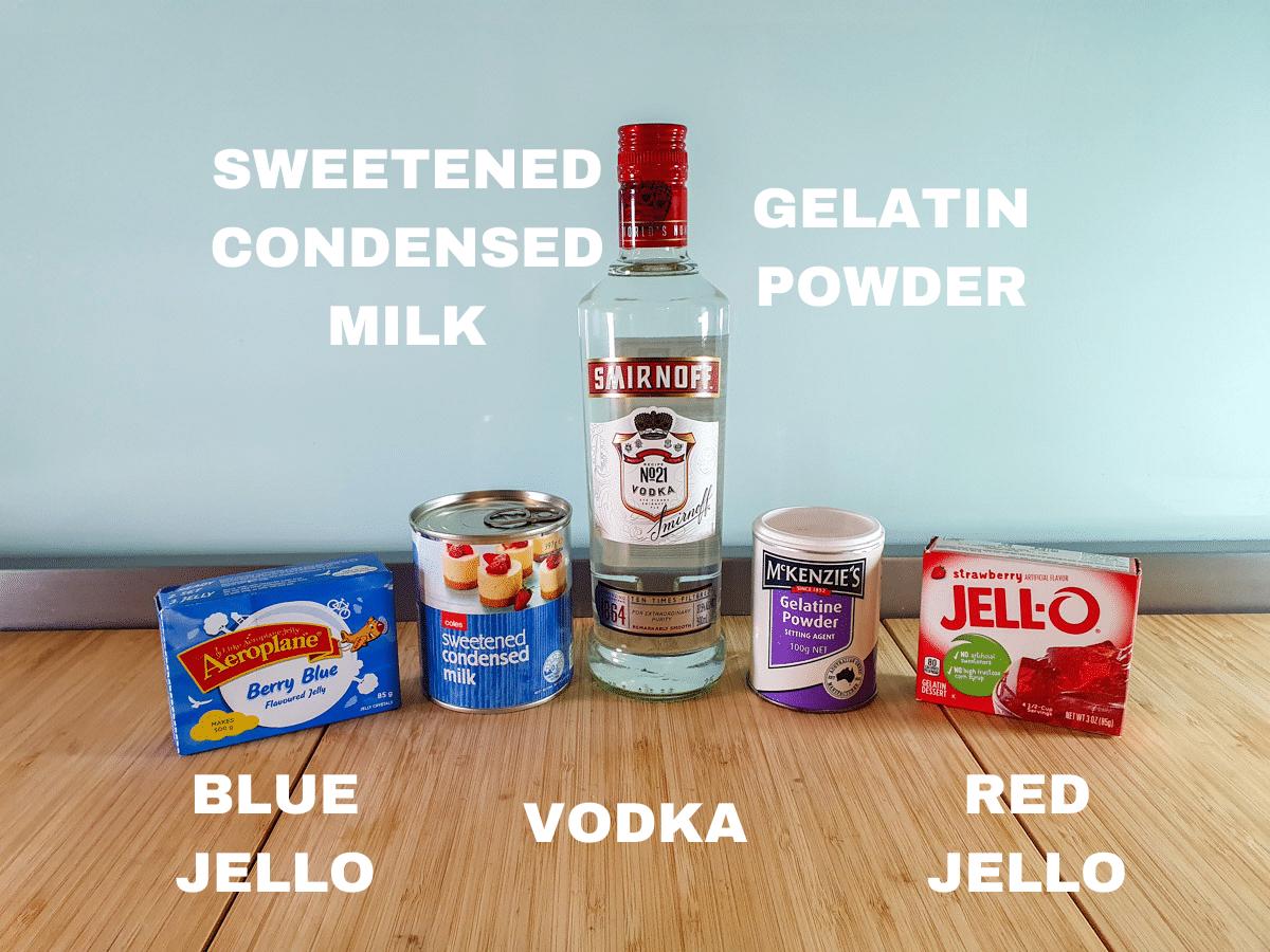 Red white and blue jello shots ingredients, blue jello, sweetened condensed milk, vodka, gelatin powder, red jello.