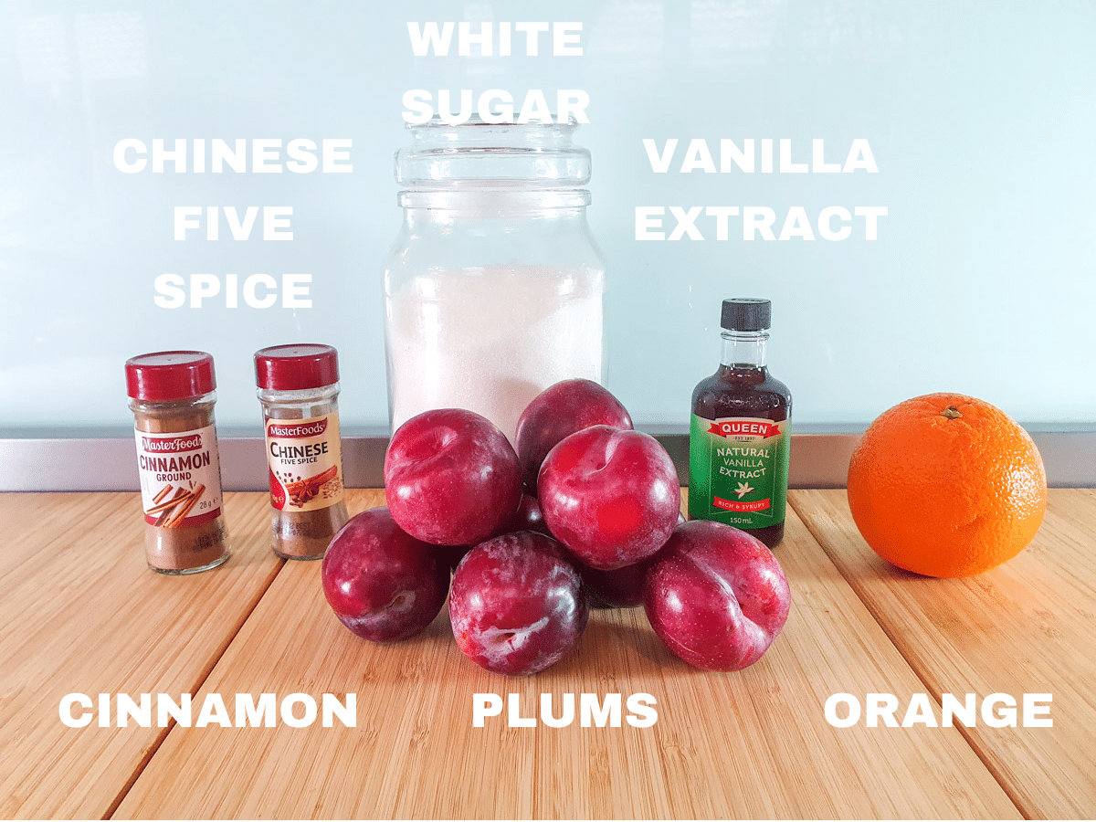 Stewed plums ingredients, cinnamon, Chinese five spice, plums, white sugar, vanilla extract, fresh orange.