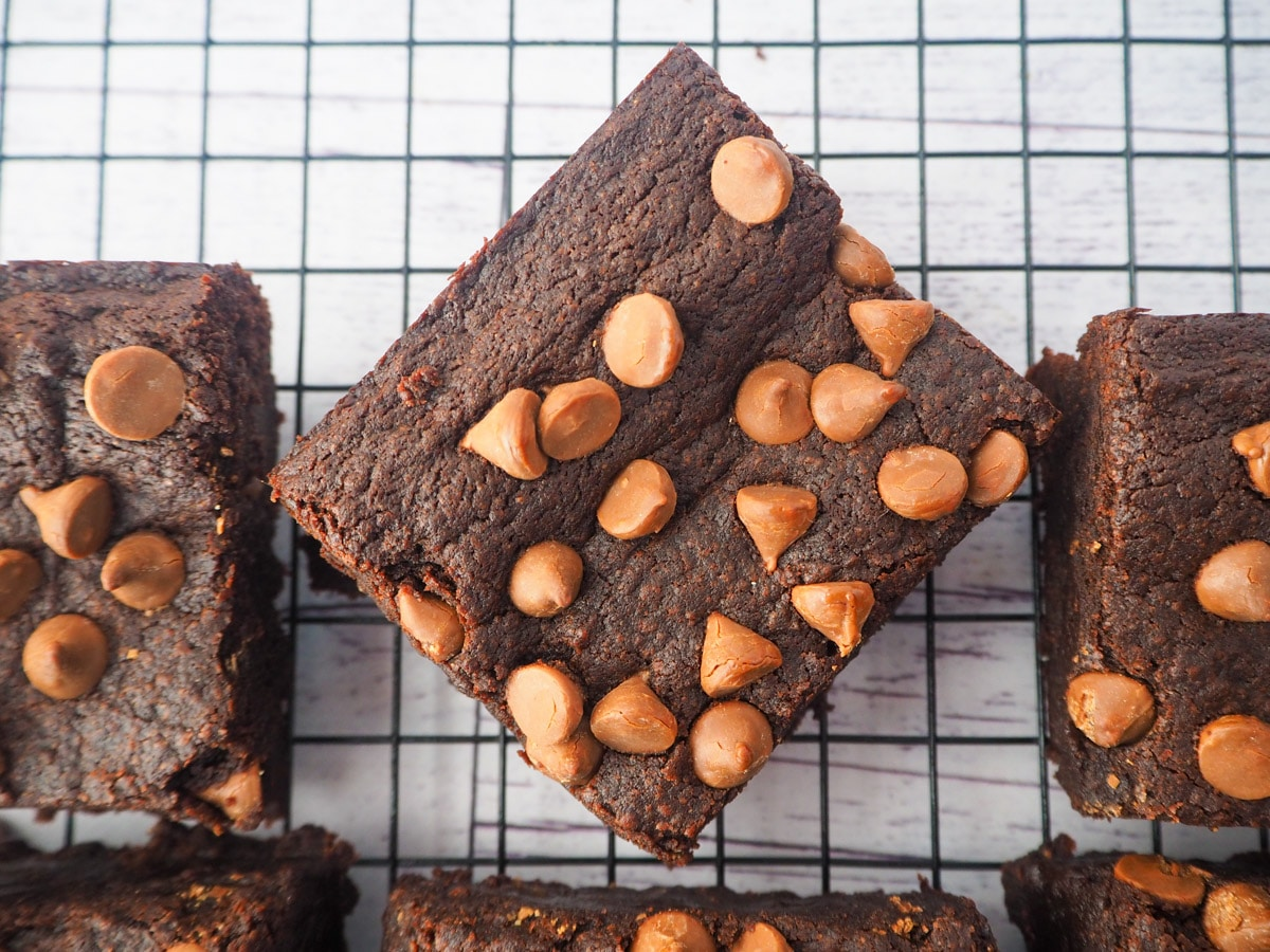 Eggless brownies on a cooling rack