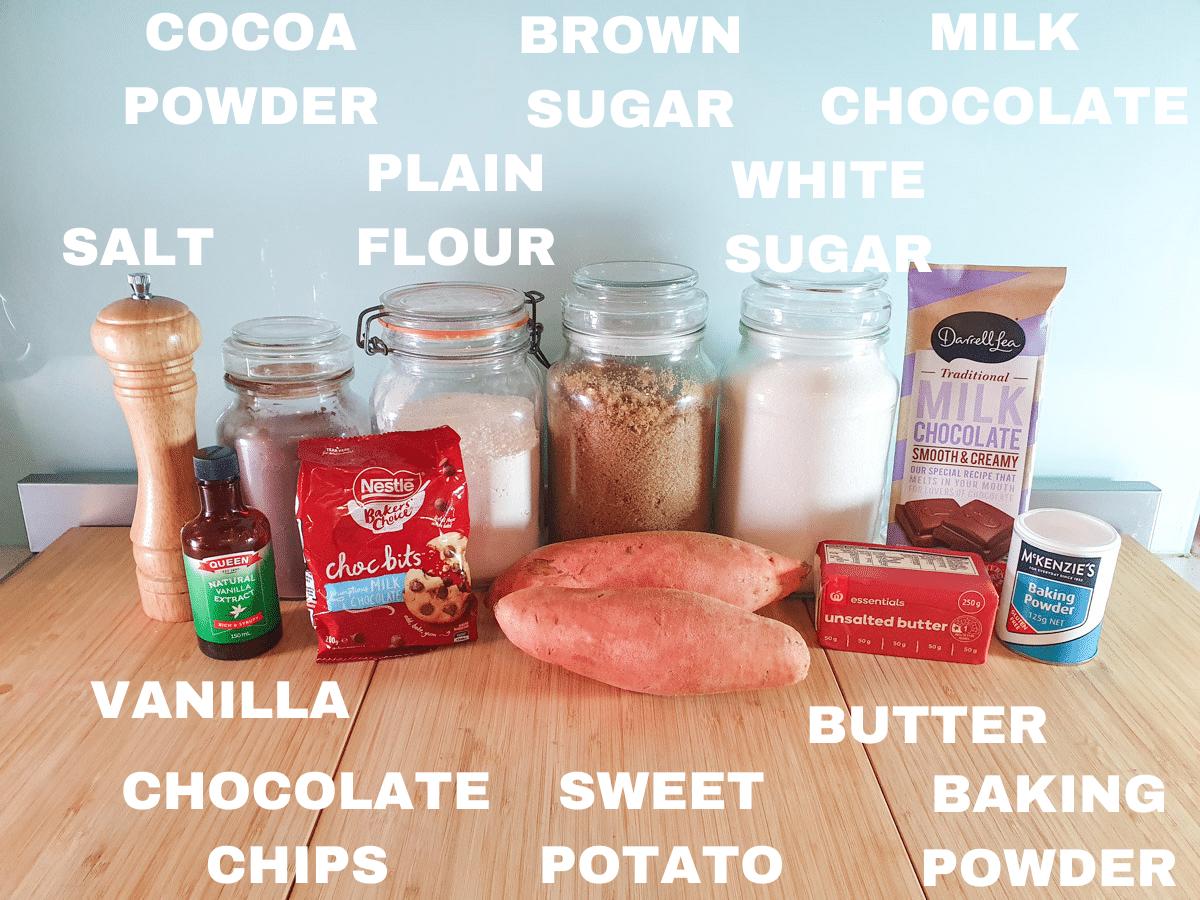 Eggless brownie ingredients, vanilla, salt, cocoa powder, milk chocolate chips, plain flour, sweet potato, brown sugar, white sugar, unsalted butter, milk chocolate, baking powder.
