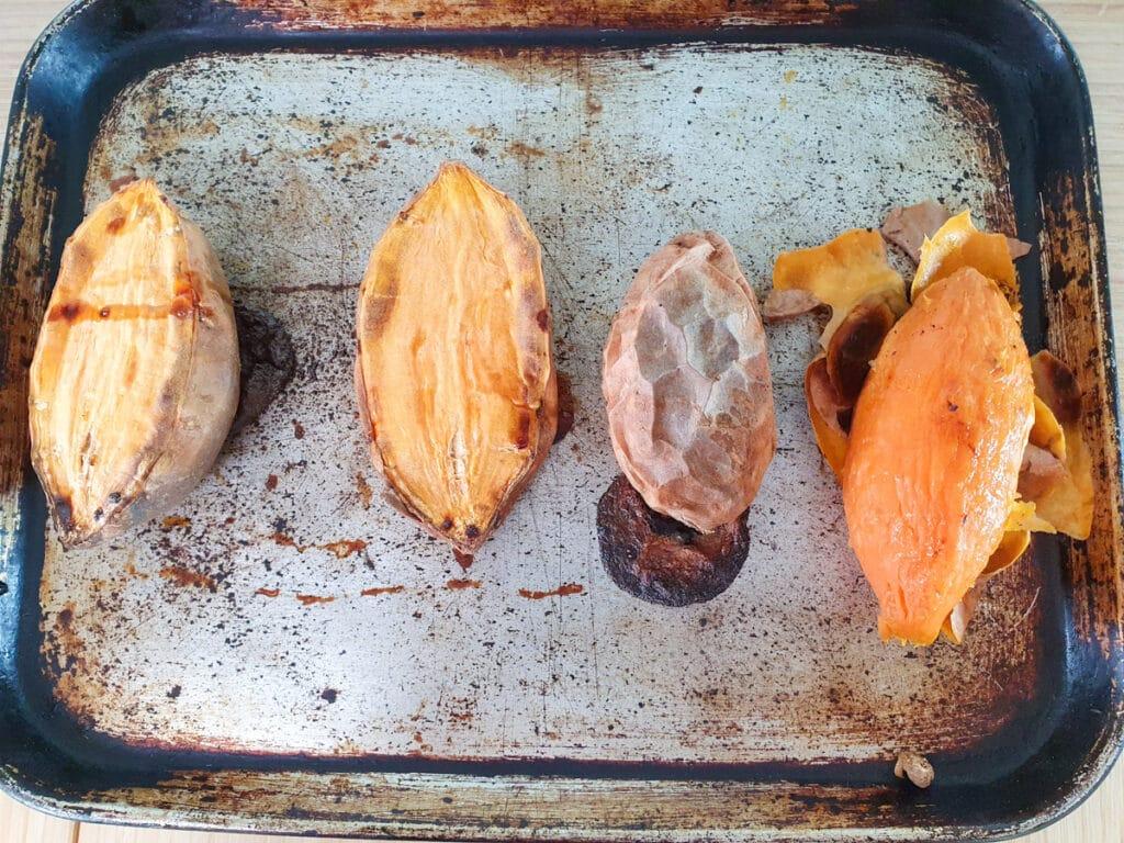 Baked sweet potato on a tray.