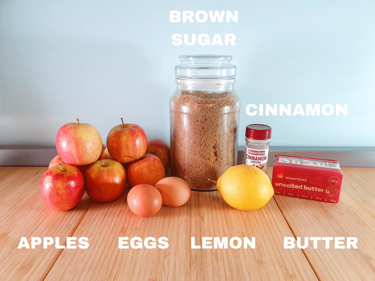 Apple curd ingredients, apples, brown sugar, eggs, lemon, cinnamon. unsalted butter.