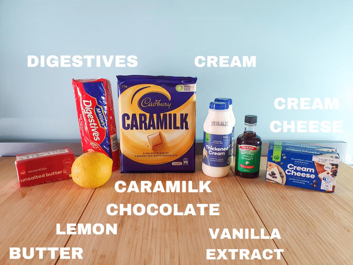 Caramilk cheesecake ingredients, unsalted butter, lemon, digestive biscuits, caramilk chocolate, cream, vanilla extract, cream cheese.