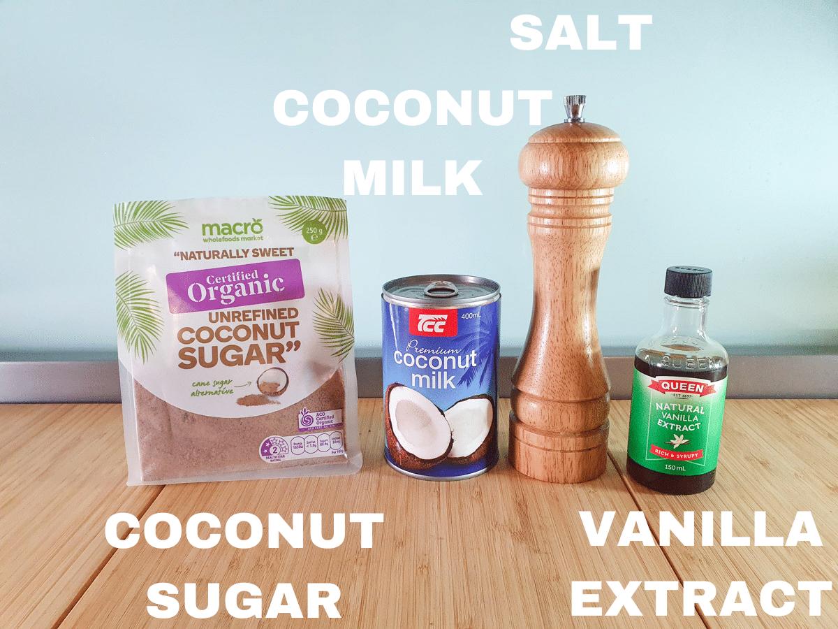 Coconut popsicles ingredients, coconut sugar, coconut milk, salt, vanilla extract.