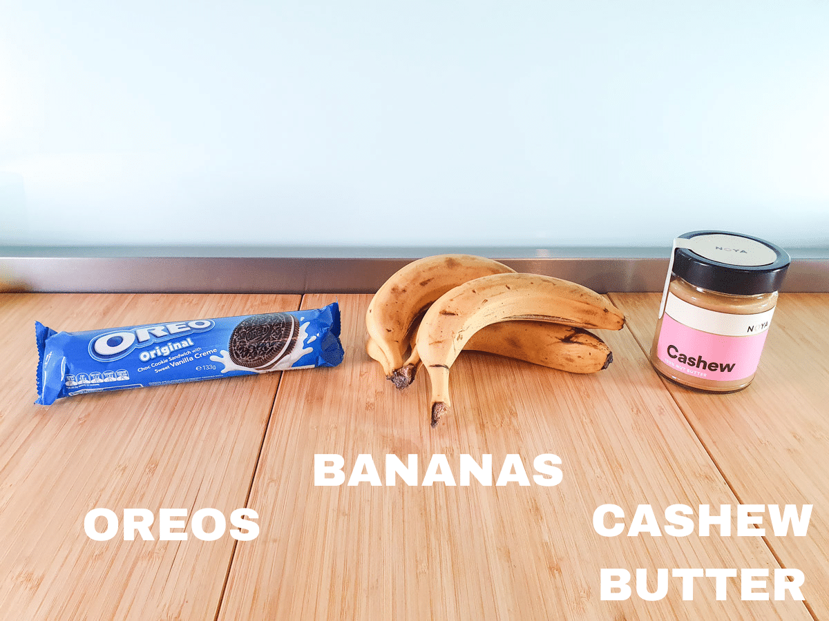 Cookies and cream nice cream ingredients, Oreos, bananas and cashew butter.