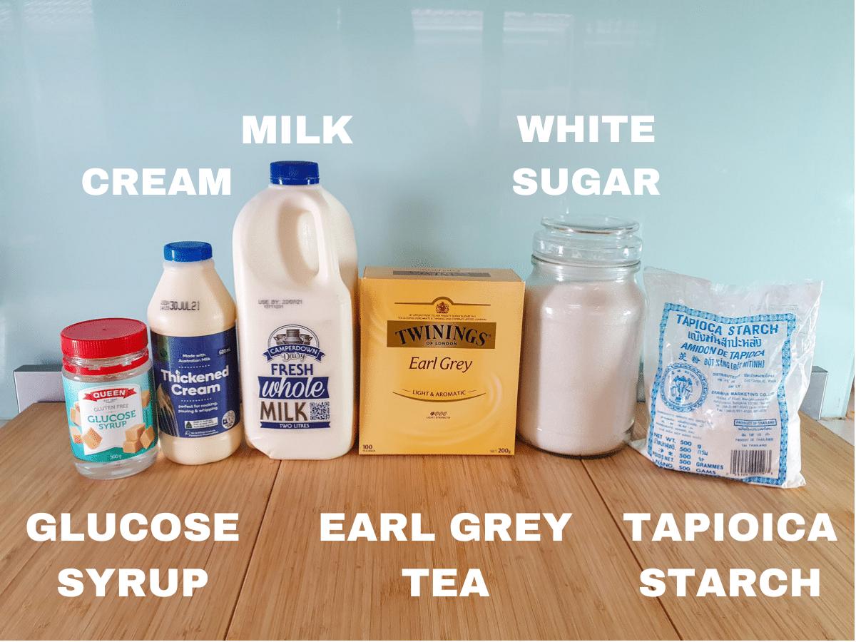 Ice cream ingredients, glucose syrup, thickened cream, milk, earl grey tea bags, white sugar, tapioca starch.