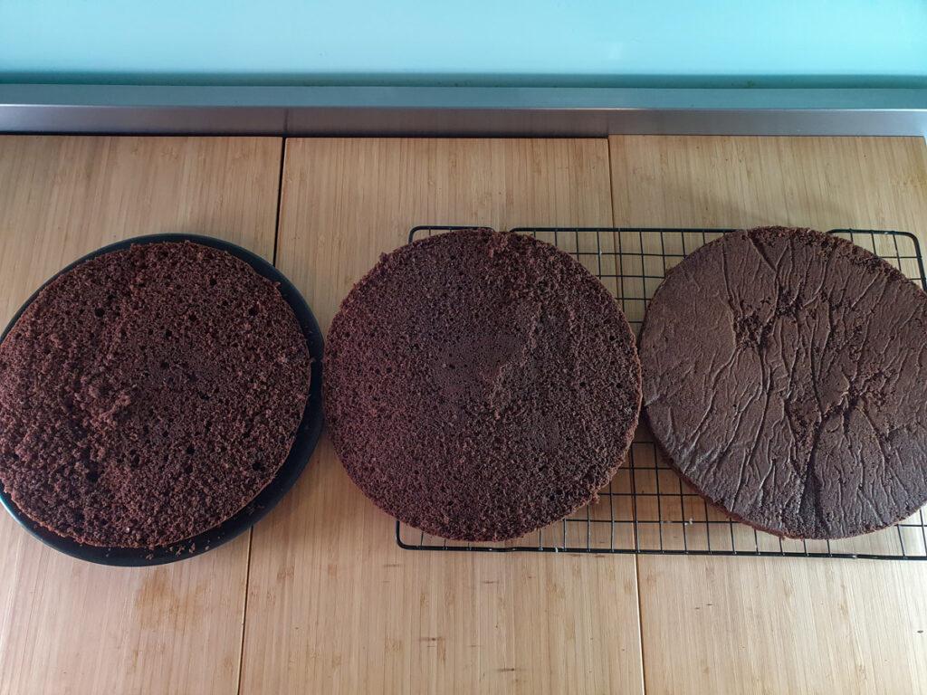 Cake sliced into three layers.
