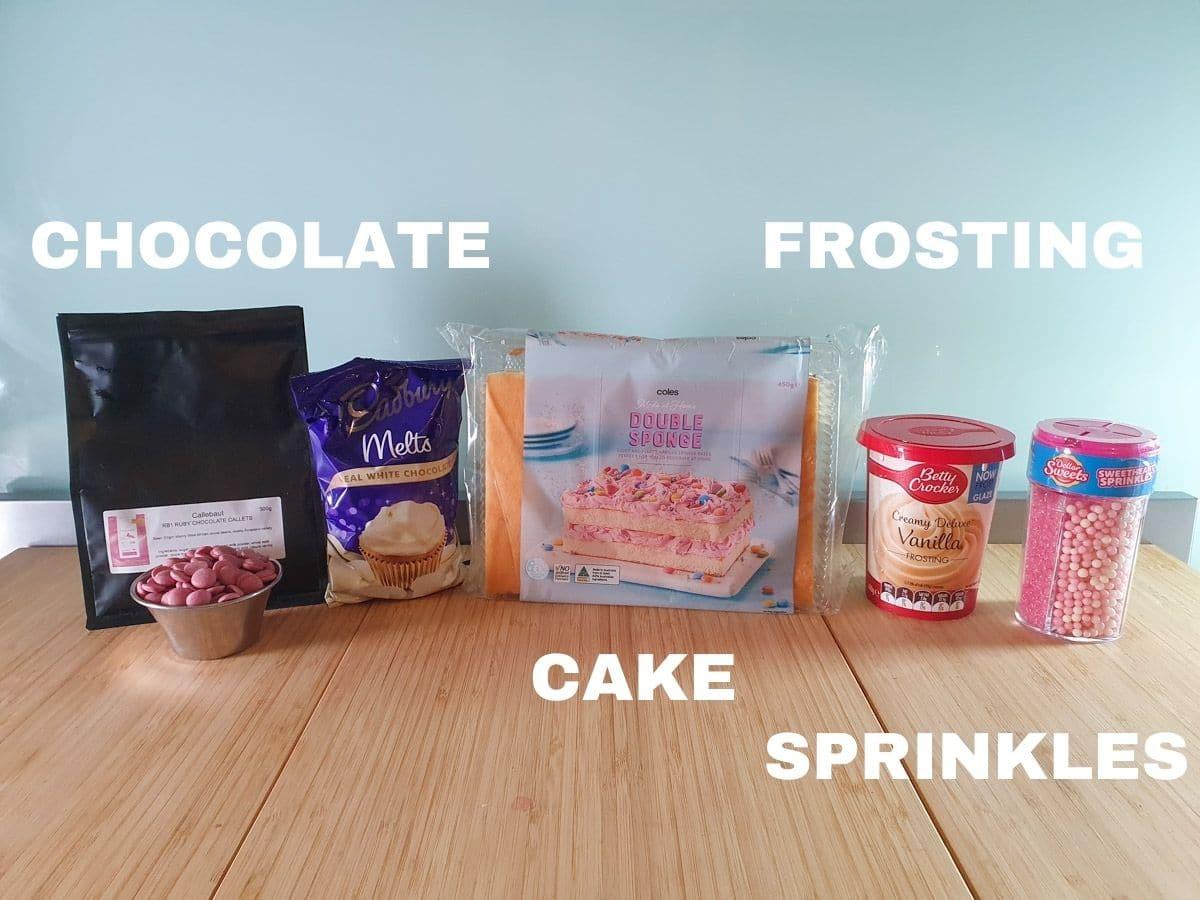 Ingredients, chocolate, cake, frosting, sprinkles.