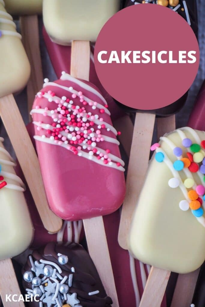Pile of pops on a plate with text overlay, cakesicles, KCAEIC.