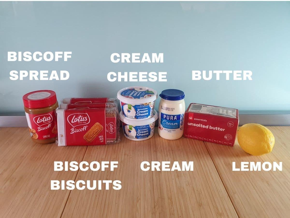 Ingredients, biscoff spread, biscoff biscuits, cream cheese. cream. unsalted butter. lemon, vanilla essence (not pictured),
