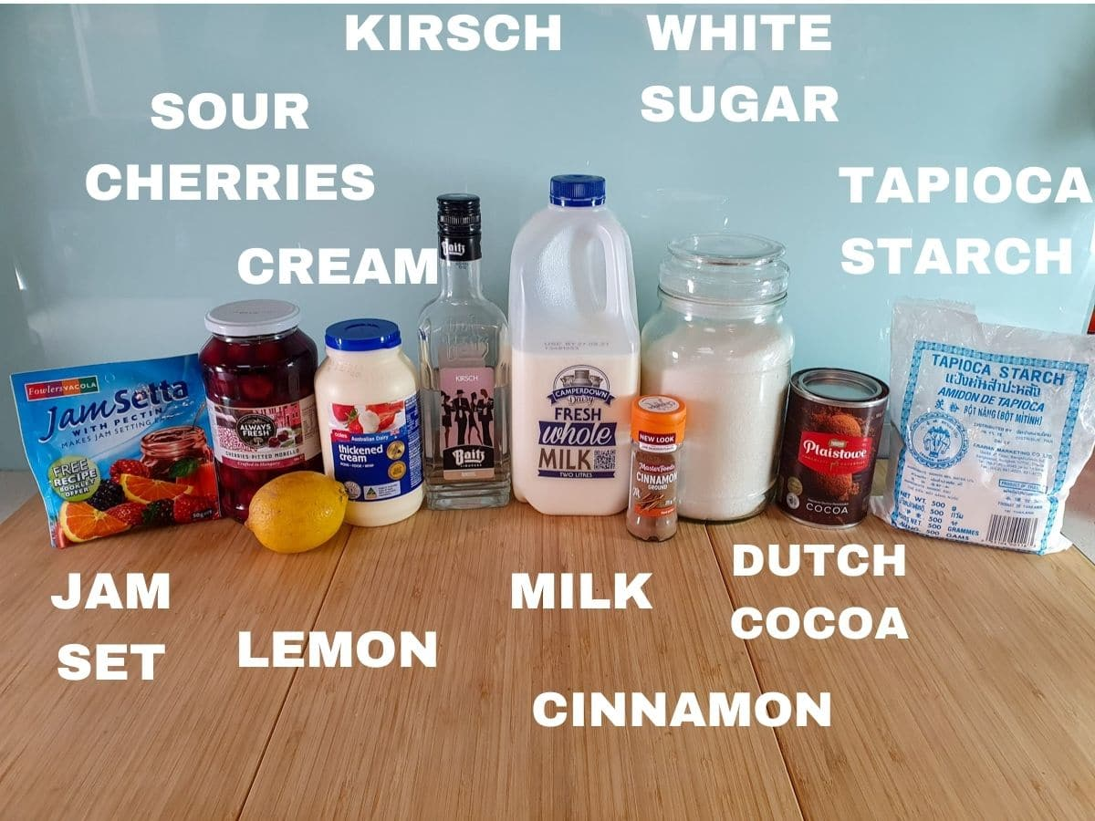 Ice cream ingredients, jam set, jar sour cherries, lemon, cream, kirsch, milk, cinnamon, white sugar, Dutch cocoa powder, tapioca starch.