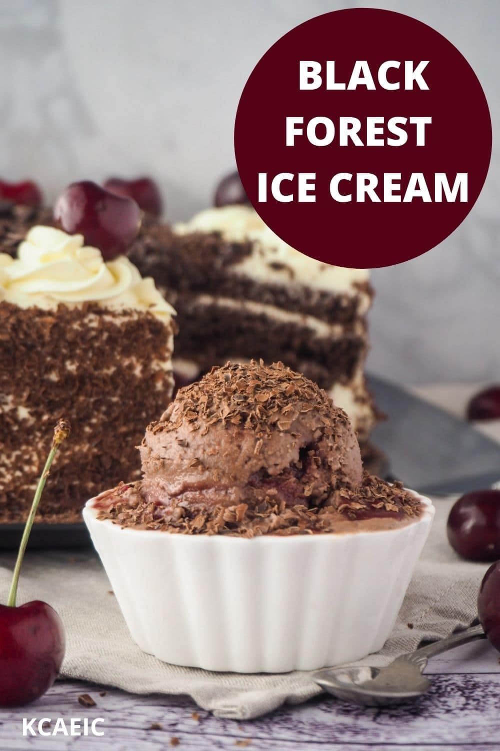 Ice cream with black forest cake in back ground, fresh cherries and text overlay, black forest ice cream and KCAEIC.