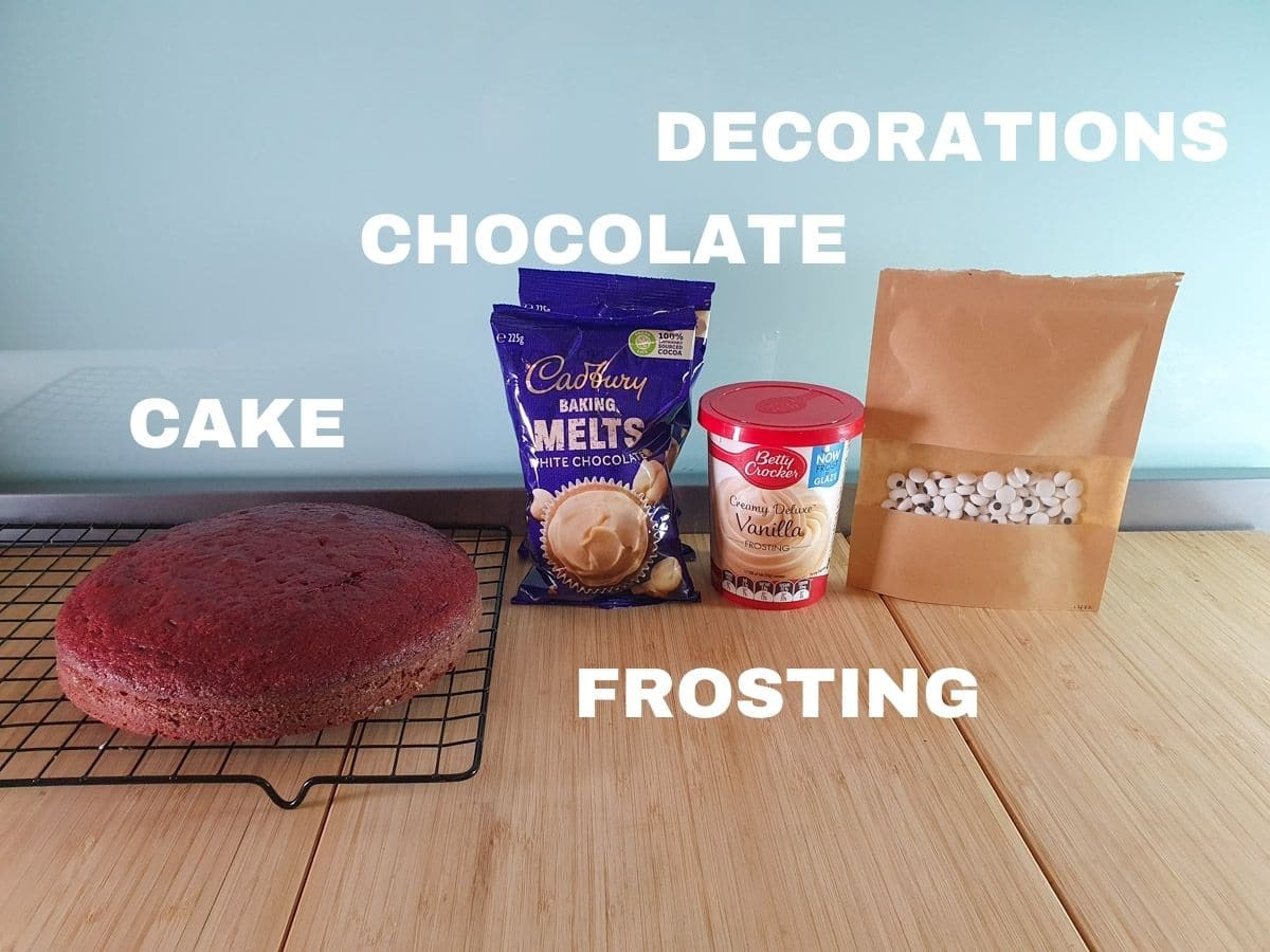 Ingredients, cake, chocolate, frosting, decorations (candy eyes pictures and white chocolate for mummy cakesicles).