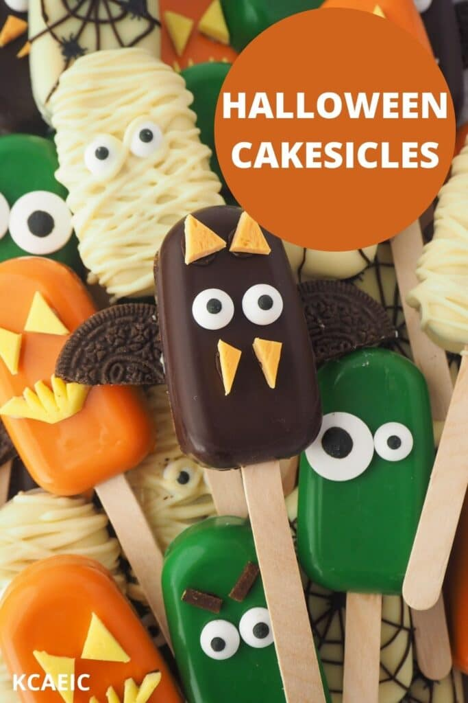 Pile of Mummy, bat, monster, jack-o-lantern and spider cakesicles with text overlay, Halloween cakesicles, KCAEIC.