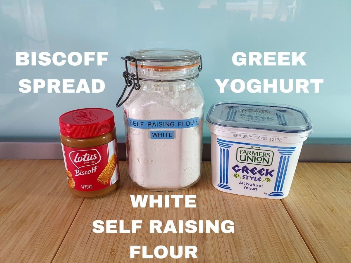 Ingredients, Biscoff spread, white self raising flour, Greek yogurt.